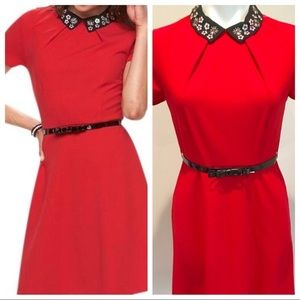 ELLE Red Party Dress with Black Beaded Collar 12